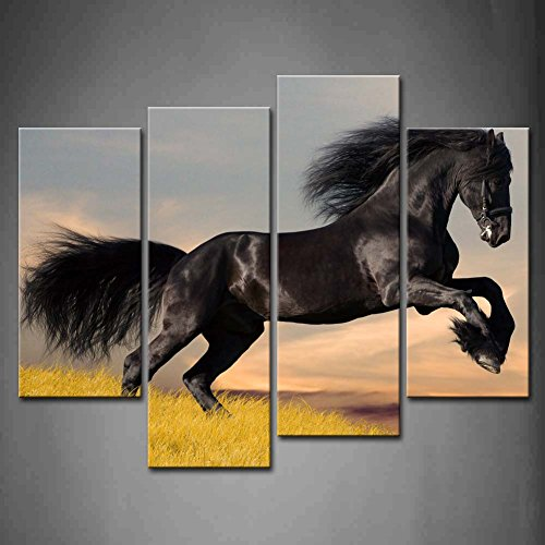 First Wall Art - 4 Panel Wall Art Friesian Stallion Gallop In Sunset Dry Grassland Painting The Picture Print On Canvas Animal Pictures For Home Decor Decoration Gift piece (Stretched - Friesian Horse Art