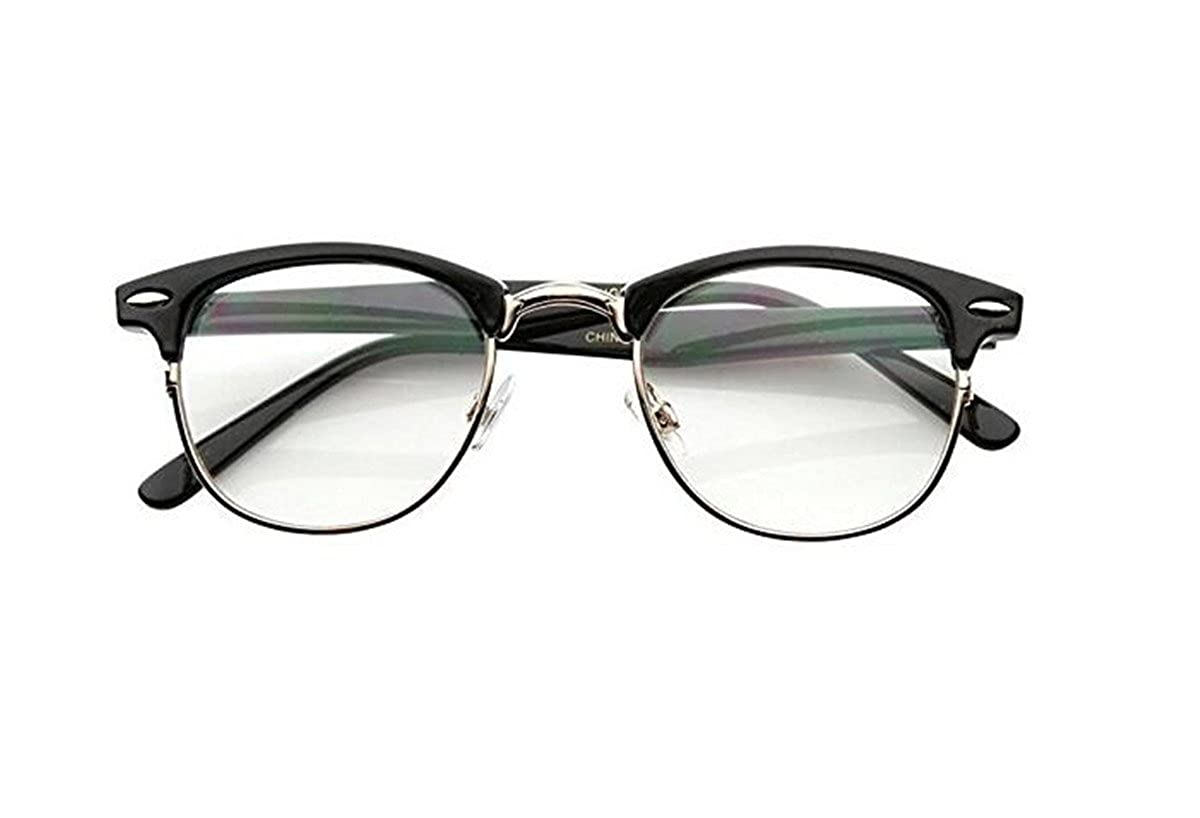 77bec506f00d Amazon.com: Malcolm X Horn Rimmed Glasses Frames Black Silver Browline  Vintage Hipster NEW: Clothing