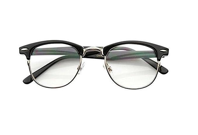 Malcolm X Horn Rimmed Glasses Frames Black Silver Browline Vintage ...