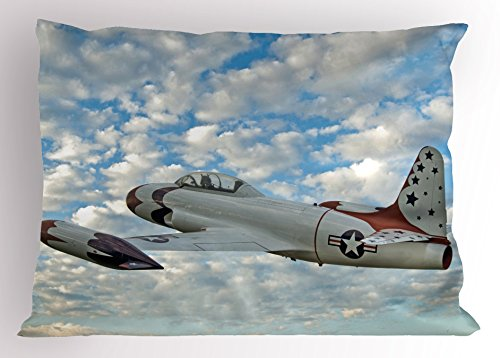 Ambesonne Airplane Pillow Sham, Vintage Plane in Mid-Air American Military Sky Aircraft Fighter Jet Transportation, Decorative Standard Size Printed Pillowcase, 26 X 20 inches, Multicolor (Air Plane Motels)