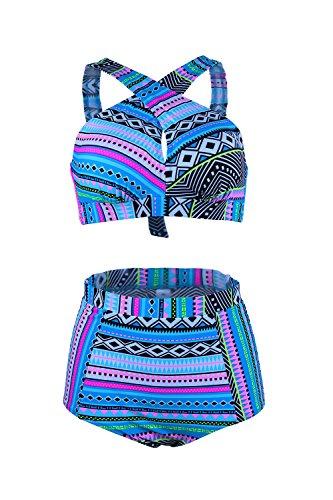 Gotswim Fashion Floral Print High Waist Bikini Set Cross Bandage Padded Swimsuit Ladies Plus Size Swimwear M-3XL