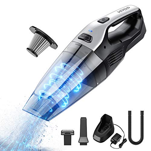 Holife Cordless Handheld Vacuum with Stainless Steel Filter (500 Times Washed), 8000PA Powerful Cyclonic Suction Rechargeable Lightweight Hand held Vac for Carpet, Hard Floor, Car, Pet Hair (Best Hand Held Vacs)