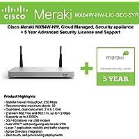 Cisco Meraki MX64W Wireless Firewall Security Appliance Bundle, 200Mbps FW, 5xGbE Ports - Includes 5 Years Advanced Security Lic