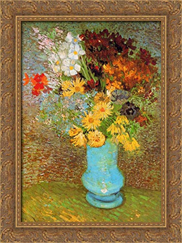 - Vase Daisies and Anemones 17x24 Gold Ornate Wood Framed Canvas Art by Van Gogh, Vincent