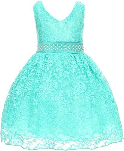 (Little Baby Girls V Shaped Necklace Lace Overlay Flower Girls Dresses Mint 24M)