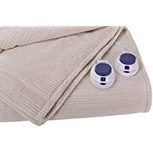 Soft Heat Ultra Micro-Plush Low-Voltage Electric Heated Triple-Rib Queen Size Blanket, Natural