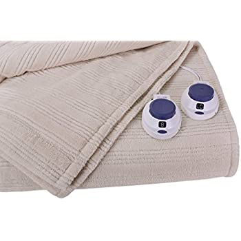 Soft Heat Ultra Micro-Plush Low-Voltage Electric Heated Triple-Rib King Size Blanket, Natural