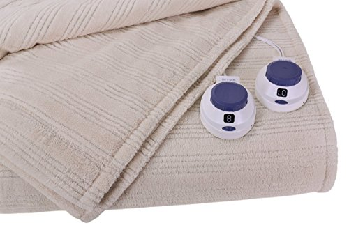 SoftHeat Ultra Micro-Plush Low-Voltage Electric Heated Triple-Rib King Size Blanket, Natural