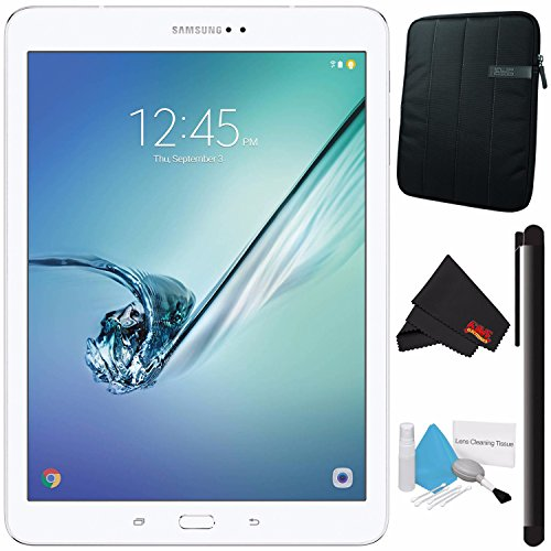 Samsung 32GB Galaxy Tab S2 9.7'' Wi-Fi Tablet (White) SM-T813NZWEXAR + Deluxe Cleaning Kit + MicroFiber Cloth + Universal Stylus for Tablets + Tablet Neoprene Sleeve 10.1'' Case (Black) Bundle by Samsung