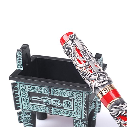 Craft Solid Colletion Classic Niello Style Dragon Red Base Fountain Pen F Tip with Piston Style Filler comes without Ink Si Mu Ting Ding Archaistic Ancient Cooking Vessel