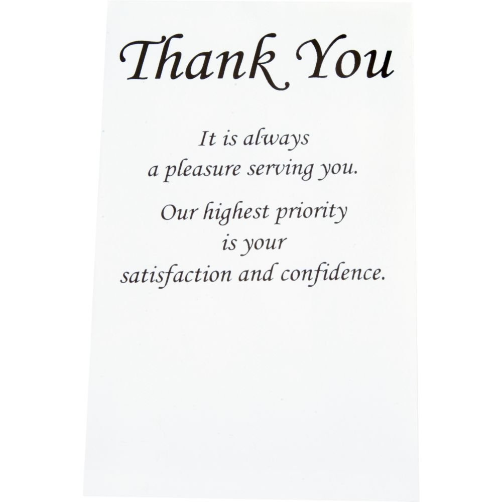 Black ''Thank You'' Envelopes - Size - 4X6-1/2X3 Pack Of 250