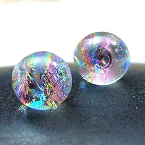 Translucent Mermaid Tears Dichroic Glass Studs, Warm Pink, Tropical Colors, Pink, Purple, Gold Blue, Beach Earrings, 10-11mm Bright Studs