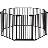Costzon Baby Safety Gate, 4-in-1 Fireplace Fence, 204-Inch Wide Barrier with Walk-Through Door in Two Directions, Add/Decrease Panels Directly, Wall-Mount Metal Gate for Pet & Child (Black, 8-Panel) Review