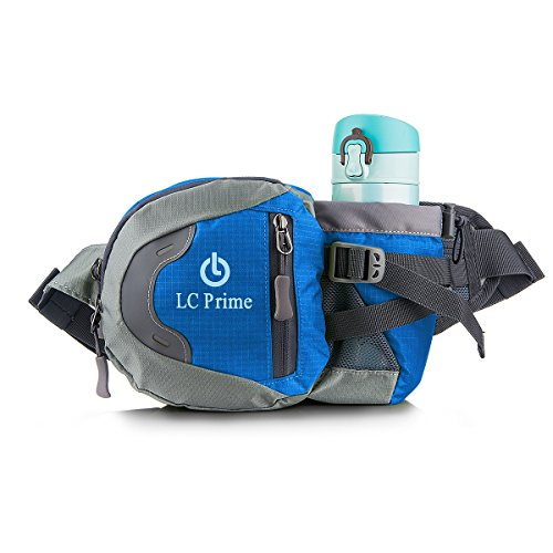 Primo Mens Snowboard - LC Prime Waist Pack Fanny Pack Bum Bag Hip Pack Running Bag Waist Bag Running Belt Sack Water Resistant with Bottle (Not Included) Holder for Hiking Camping Dog Walking nylon fabric blue