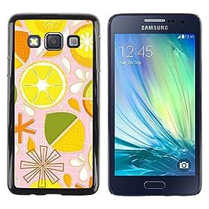iKiki Tech / Estuche rígido - Lime Lemon Citrus Pattern Stylized - Samsung Galaxy A3 SM-A300