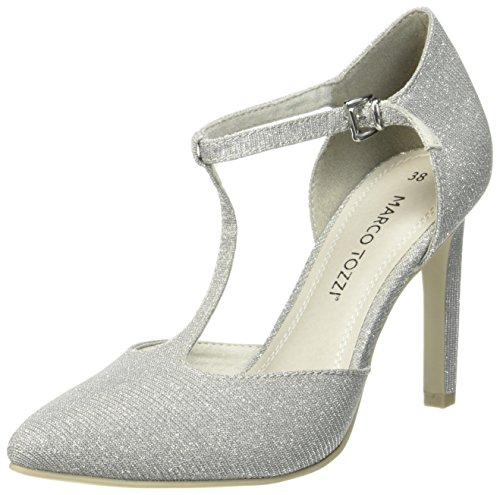 24401 Tacón Tozzi Gris Zapatos Marco Mujer para de Metallic Grey aw5qxg7I