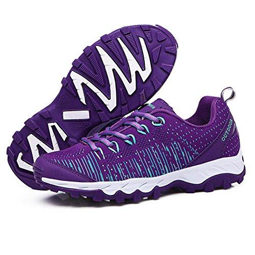 Uomini/signore moda traspirante Flyknit tempo libero Scarpe sportive durevole luce slittata scarpe da ginnastica jogging campeggio Escursionismo , Purple , 39