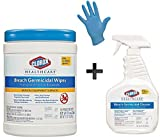 Clorox Healthcare Bleach Germicidal Cleaner Spray and Wipe Combo Kit, With 100 Nitirle Medical Grade Gloves, Ready to Use Disinfectant Kit