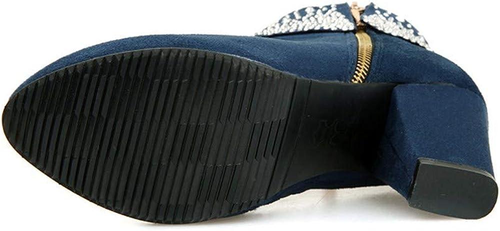 Riou Damen Strass mit Hohem Absatz Stiefeletten Runde Kappe