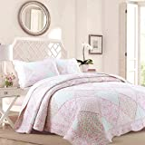 Cozy Line Home Fashions La Rosa Rêve Quilt Bedding Set, Floral Pink Green Rose Flower 3D Real Patchwork, 100% COTTON Reversible Coverlet Bedspread Set, Romantic Gifts for Women (Pink, King - 3 piece)