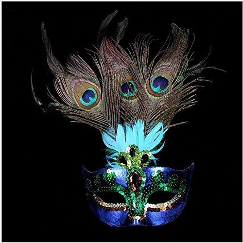 MAZIMARK--Cosplay Peacock Feather Venetian Mardi Gras Masquerade Mask Party Costume (Mardi Gras Costume Makeup)