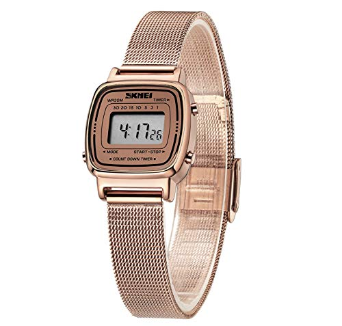 - Women's Rose Gold-Tone Digital Watch Stainless Steel Waterproof Square Wristwatch for Women with Fashion Dress Band