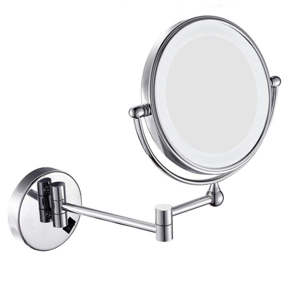 Round Vanity Mirror with Led Lighted,Foldable,Double Sided, 5 Times Magnification, Suitable for Bathroom, Hotel, Dressing Room