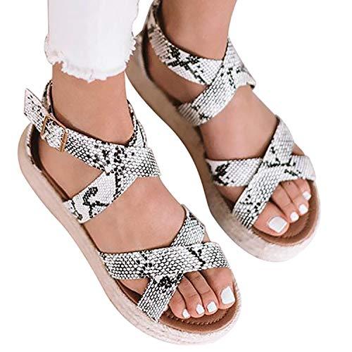 XMWEALTHY Women's Platform Wedges Heel Sandals Summer Strappy Open Toe Espadrilles Sandals Snake US 5.5 ()