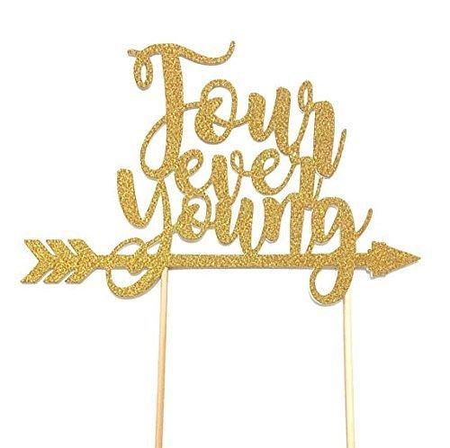 1 pc Four ever Young script fonts bohemian boho tribal native arrow Theme Gold Glitter Cake Topper for Birthday Boy Girl