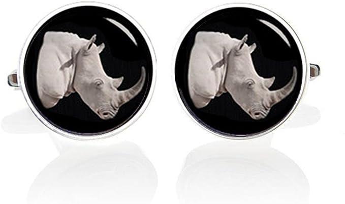 S0133 Rhino Cufflink Rhino Cufflinks Wildlife Cufflinks Rhinoceros Cuff Links Lifetime Guarantee Pair