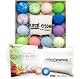 Natural Essence Bath Bombs and Pillow Gift Set, 12 Bath Fizzies and Bath Pillow
