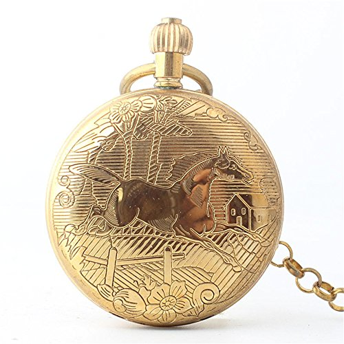 Zxcvlina Classic Smooth Creative Horse Carved Golden Retro Mechanical Pocket Watch with Chain for Unisex Birthday Gift Suitable for Gift Giving by Zxcvlina (Image #4)