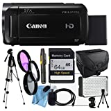 Canon VIXIA HF R700 with Camcorder Case, 64GB SD Card, Full Size Pro Tripod, Filter Kit, LED Light, HDMI Cable, Tripod, Cleaning Cloth & More