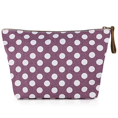 SMRITI Canvas Large Makeup Bag Pouch Purse Handbag Organizer with Zipper(Wave point)