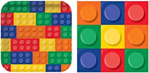 BirthdayExpress Building Blocks Dinner Plates & Napkins for 16