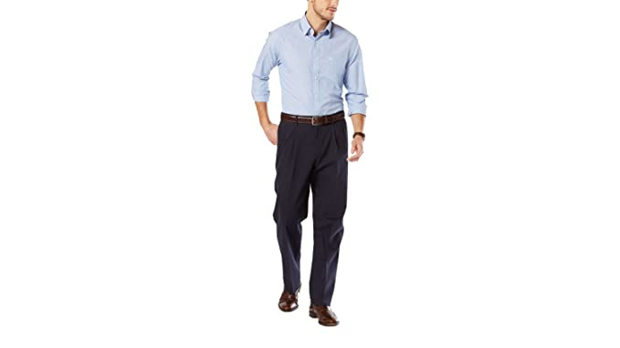 eb91ca11 Dockers Men's Men's Signature Khaki D4 Relaxed Fit Pleated Dockers Navy Stretch  Pants