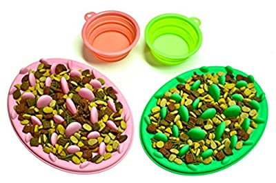 Devoted Doggy Food Grade Silicone Interactive Slow Feeder - Anti-gulping Bloat Stop - Foldable Travel Bowl Included