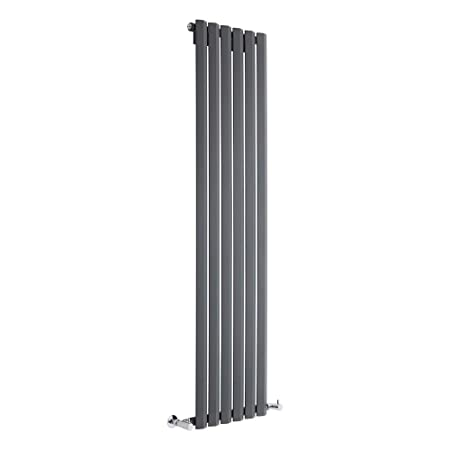 Hudson Reed DRAVP2 - Radiador de Diseño Vertical Para Calefacción Central de Agua - Acero - Gris Antracita - 1600 x 420 mm - 749 Vatios - Calentador ...