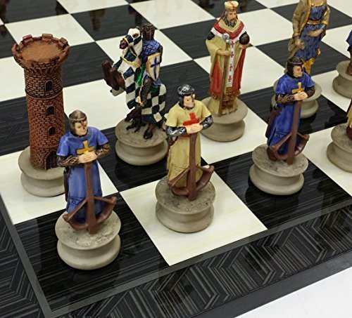 HPL Medieval Times Crusades King Richard The Lionheart Knight Chess Set W/ 17