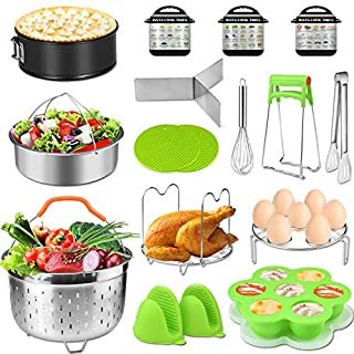 Accessories for Instant Pot 5,6,8 Qt,PECHAM Pressure Cooker Accessories Set Including 2 Steamer Baskets/Springform Pan/Stackable Egg Steamer Rack/Egg Bites Mold/Kitchen Tongs Etc,Best Gift Idea