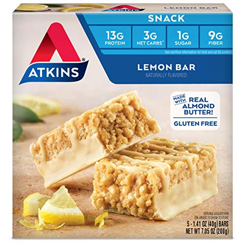 Atkins Gluten Free Snack Bar, Lemon Bar, Keto Friendly, 5 Count (Pack of ()