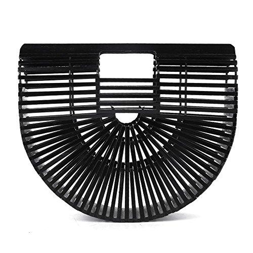 Semi Black Femme circulaire Main À Tout Bambou Delaman Sac Artisanal Fourre qP8gTg