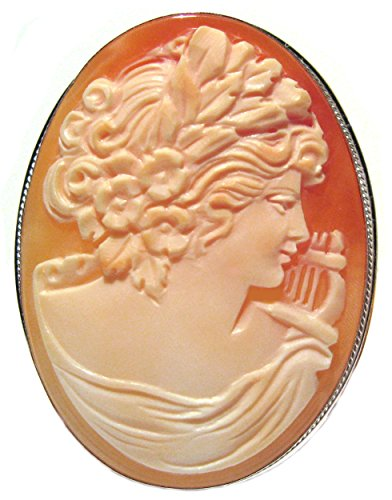 (Cameo Brooch Pendant Goddess of Music Calliope Carnelian Shell Italian Master Carved, Sterling Silver )