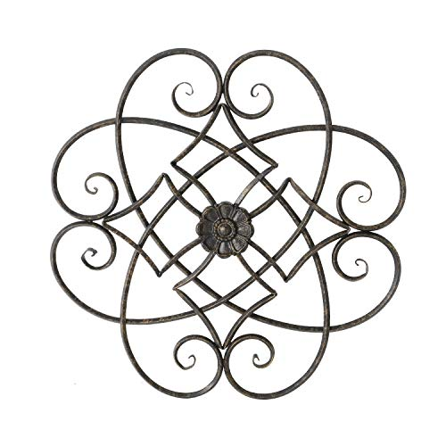 Adeco Black Scrolled Flower Metal Wall Decor, Art Living Room Home Decoration, 22.5