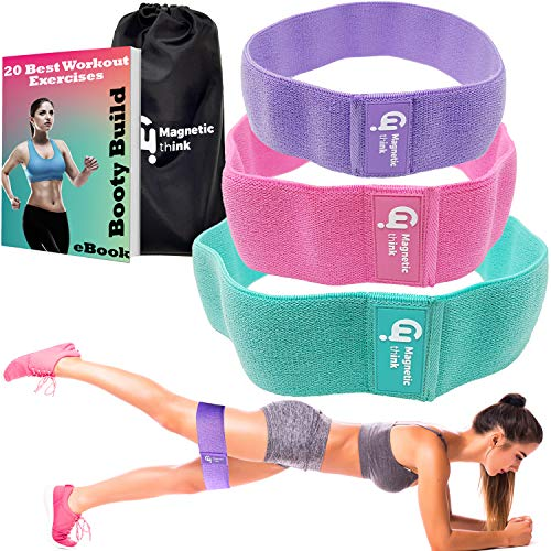 Magnetic Think Booty Bands Workout Resistance Hip Bands - Fabric Resistance Bands for Legs and Butt, Non Slip Hip Bands for Legs, Butt, Booty Building, Squats