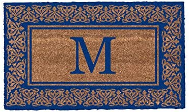 Coco Mats N More Blue Blooming Hearts Bordered Monogrammed Coco Doormat 18 x 30 with Vinyl Backing