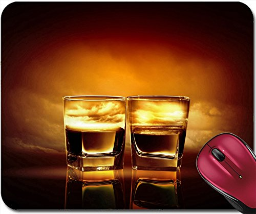 Liili Mousepad Two Glasses of Whiskey with sea Illustration in Against Sky Background Image ID 17867988