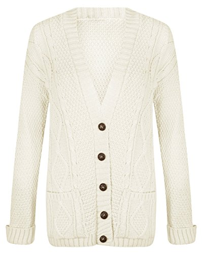 Glamorous Fashions Women Ladies Long Sleeve Button Top Chunky Aran Cable Knitted Grandad Cardigan ( XXL - Cream )