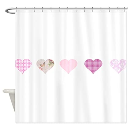 Amazon CafePress Pink Hearts Shower Curtain Decorative Fabric