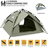 BFULL Instant Pop Up Camping Tents for 2-3 Person Family, Dome Waterproof Sun Shelters Backpacking Tents Quick Set up for Camping Hiking Outdoor Activities